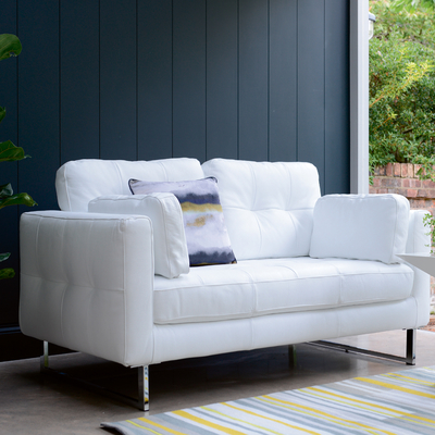Paris leather two seater sofa brilliant white