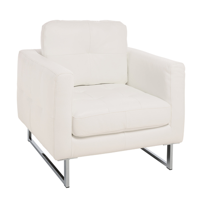Paris leather armchair brilliant white