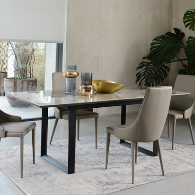 Reno ceramic marble extending 6-8 seater dining table grey