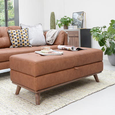 Marseille leather storage footstool tan