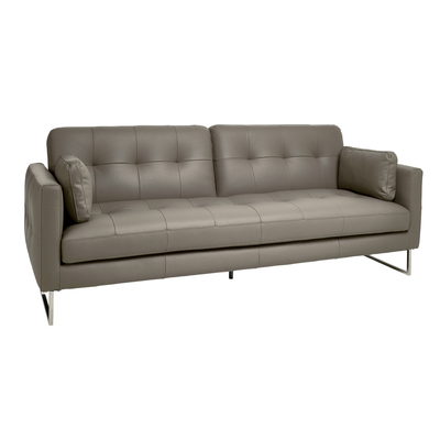Paris faux leather three seater sofa bed light grey