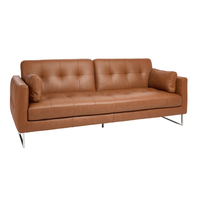 Paris faux leather three seater sofa bed tan