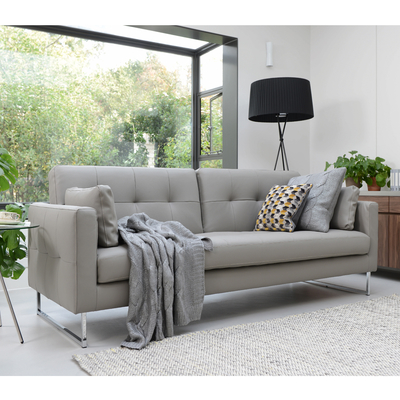 Paris leather three seater sofa bed dove grey