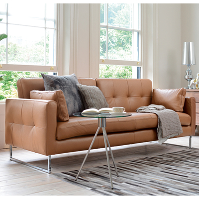 Amazing Paris Leather Three Seater Sofa Bed Natural Tan