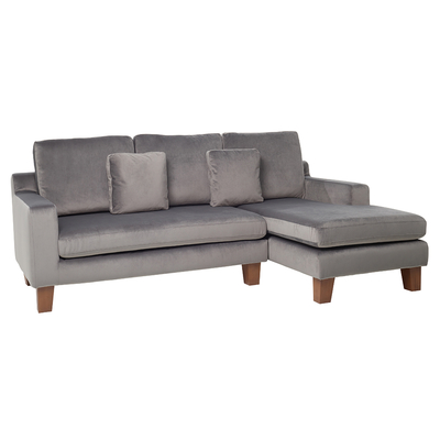 Ankara right hand corner sofa velvet grey