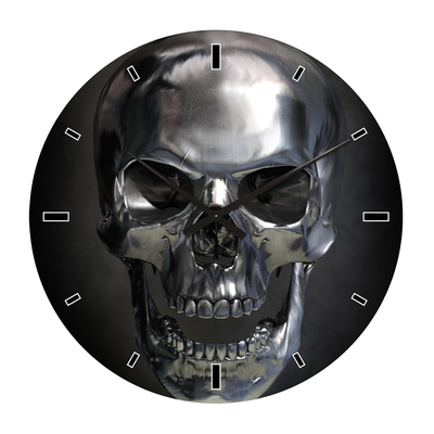 Skull glass wall clock extra large