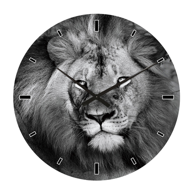 Lion face glass wall clock extra large