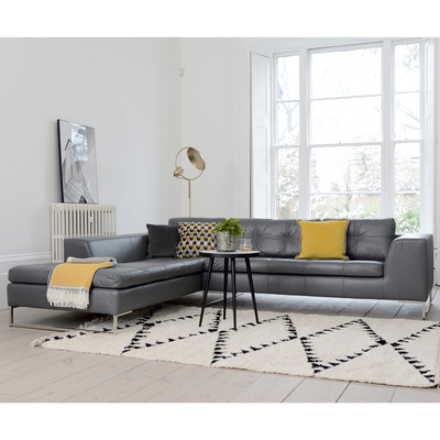 Vienna leather left hand corner sofa grey