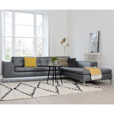Vienna leather right hand corner sofa grey