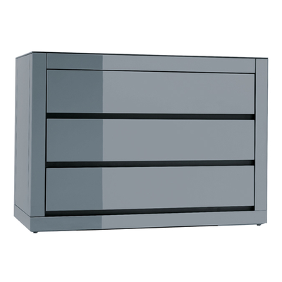 Reflect smoked mirrored wide chest of drawers