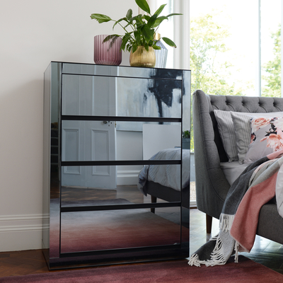 Reflect smoked mirrored tall chest of drawers