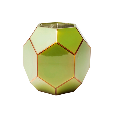 Hexagon glass vase green