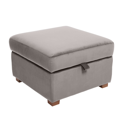 Ankara footstool with storage velvet grey