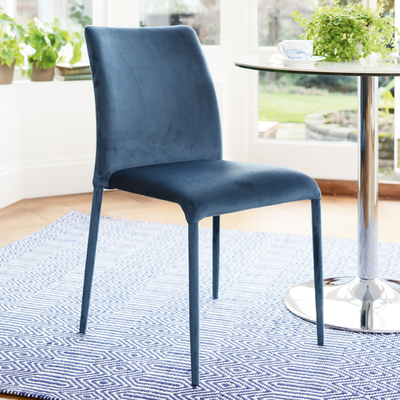 Svelte dining chair blue velvet