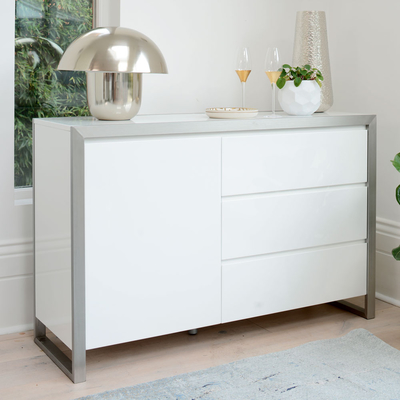 Steel frame compact sideboard white