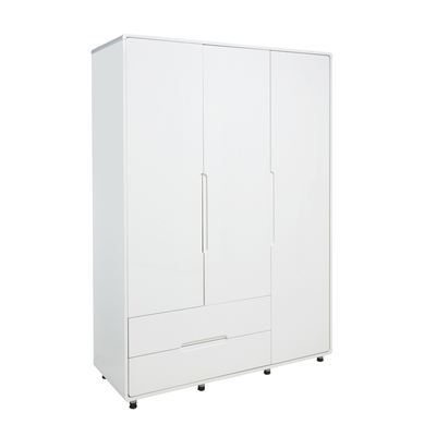 Notch wardrobe three door with drawers white