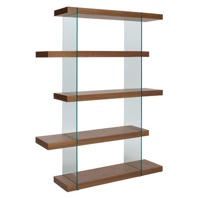Treble tall shelving walnut