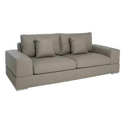 Verona leather three seater sofa light grey