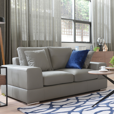 Verona leather two seater sofa light grey