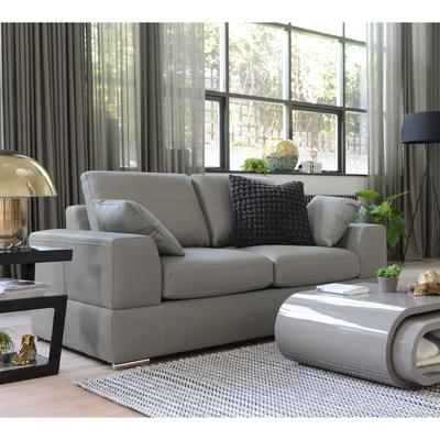 Verona leather two seater sofa bed light grey