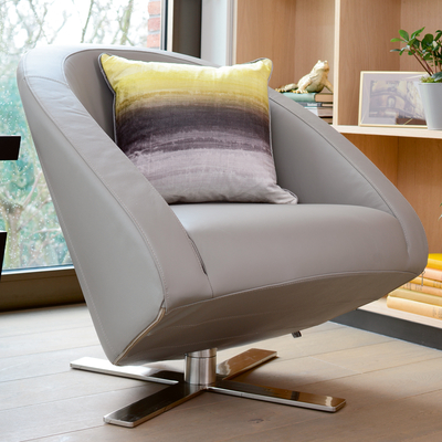 Cross base leather armchair light grey