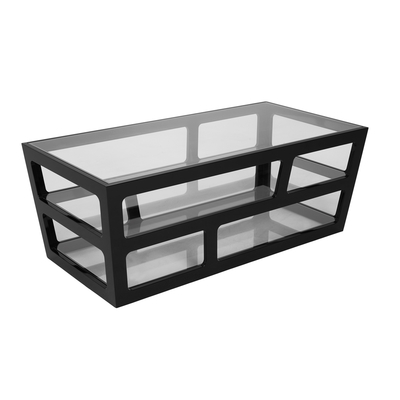 Triple level coffee table black