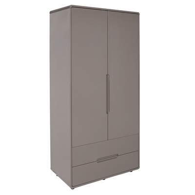 Notch wardrobe two door with drawers stone