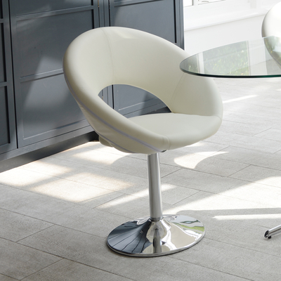 Retro circles dining chair white