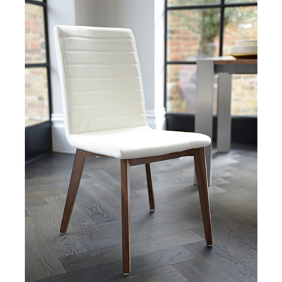 Parquet dining chair faux leather white