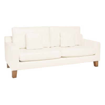 Ankara leather three seater sofa brilliant white