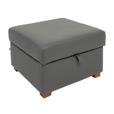 Ankara faux leather footstool with storage grey