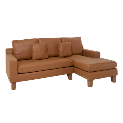 Ankara faux leather right hand corner sofa tan