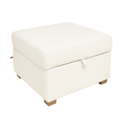 Ankara faux leather footstool with storage brilliant white