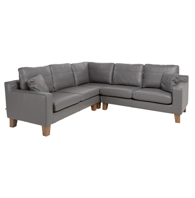 Ankara leather full corner sofa grey