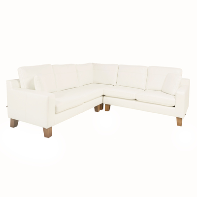 Ankara leather full corner sofa brilliant white