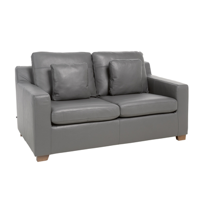 Ankara leather two seater sofa bed grey