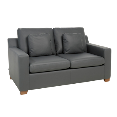 Ankara faux leather two seater sofa bed grey