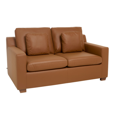 Ankara faux leather two seater sofa bed tan