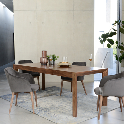 Extending 6-8 seater dining table walnut