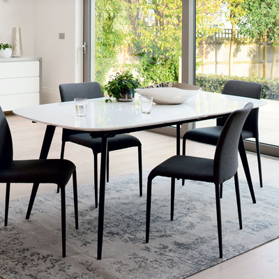Vigo double extending 6-12 seater dining table white gloss