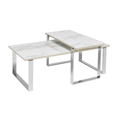 Span marble ceramic coffee table set white
