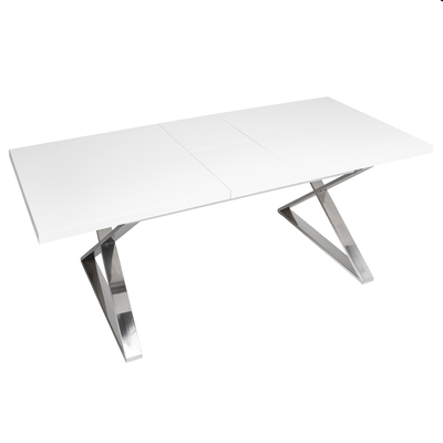 Crossed leg extending 6-10 seater dining table chrome legs white
