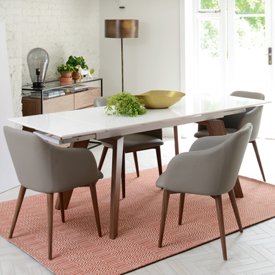 Panama extending 6-8 seater dining table white gloss