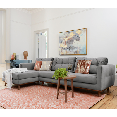 Marseille left hand corner sofa grey velvet
