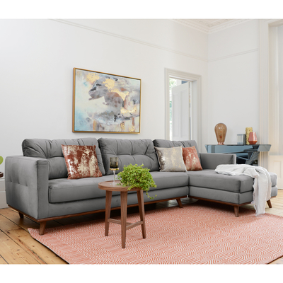 Marseille right hand corner sofa grey velvet