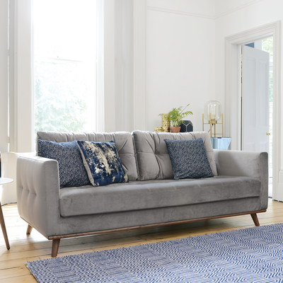 Marseille three seater sofa grey velvet