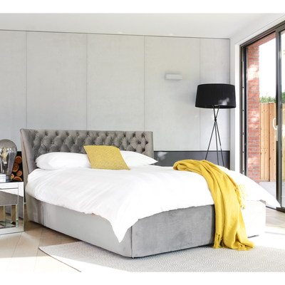 Cavendish storage bed king grey velvet