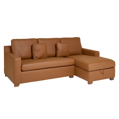 Ankara faux leather right hand corner sofa bed with storage tan