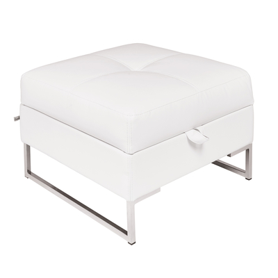 Vienna leather storage footstool white
