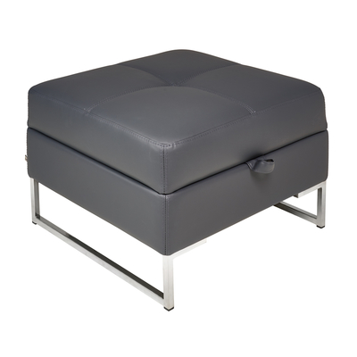 Vienna leather storage footstool grey